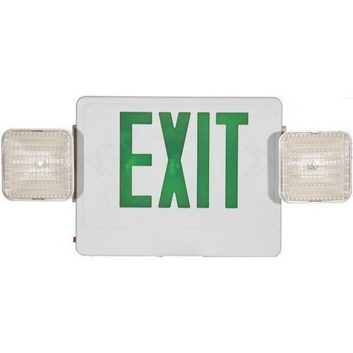 Morris 73032 Combo LED Exit & Incandescent Emergency Light Green LED White Housing