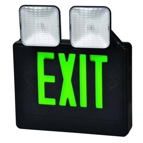 Morris 73033 Combo LED Exit & Incandescent Emergency Light Green LED Black Housing
