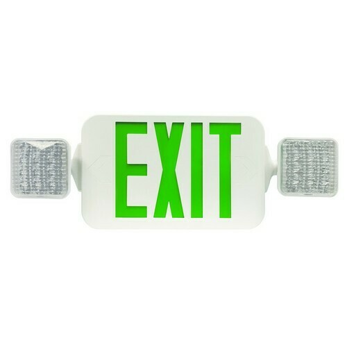 Morris 73444 Square Head LED Combo Exit/Emergency Light High Output Remote Capable Green LED White Housing