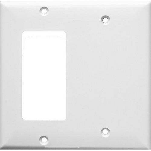 Morris 81221 Lexan Wall Plates 2 Gang 1 GFCI 1 Blank White