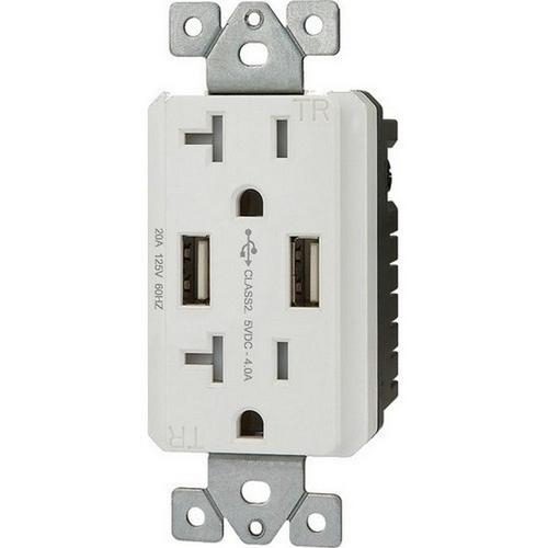 Morris 82371 Decorative USB Chargers & Tamper Resistant Duplex Receptacle 15A-125V White