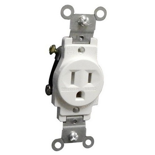 Morris 82511 Commercial Grade Tamper Resistant Duplex Receptacle White 15A-125V