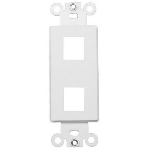 Morris 88114 Decorative DataComm Frame For Keystone Jacks and Modular Inserts Two Ports White